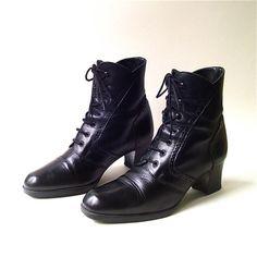 vintage Italian Black Leather Granny Boots. $75.00, via Skinny and Bernie on Etsy.