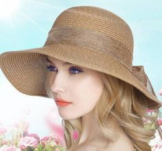 Plain khaki straw wide brimmed hats for ladies large bow sun hats