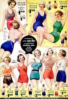 Swim wear from a catalogue from 1934