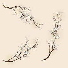18 New Ideas Sakura Tree Tattoo Ribs Vine Tattoos, Flower Tattoos, Body Art Tattoos, Cherry Blossom Drawing, Tattoo Fleur, Tree Branch Tattoo, Schrift Tattoos, Branch Drawing, Plant Tattoo