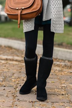 CHUNKY KNIT CARDIGAN + THE NEW SLIM UGG BOOT | Sequins & Things