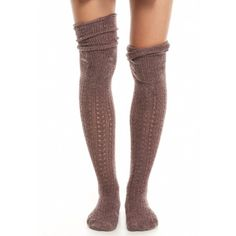 Free People Mink Bowery Crochet Over The Knee Socks ($12) ❤ liked on Polyvore featuring intimates, hosiery, socks, mink, above knee socks, crochet socks, overknee socks, free people and free people socks