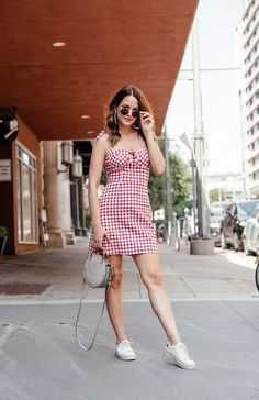 1d3683e3b0 A Lo Profile wearing a red gingham dress by WAYF with white espadrille  sneakers