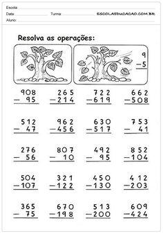 Atividades de Subtrair 2º ano Math Practice Worksheets, Money Worksheets, Math Resources, Math Subtraction, Math Sheets, Second Grade Math, English Vocabulary Words, Math Practices, Math For Kids