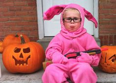 """12 Kids Who Probably Don't Understand Their Halloween Costumes - MTV - Ralphie from """"A Christmas Story""""  (A pretty good likeness in the face, with the pout and everything.)"""
