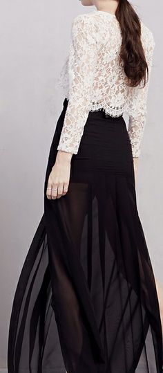 Lace top + sheer maxi @Reformation