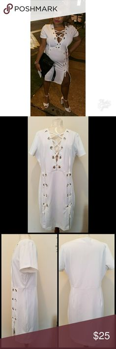 Fashion Nova Sit With Us dress Nice thick fabric with some structure, not see through. Stretch without being a really tight body con.  Worn once. Excellent condition. Fashion Nova Dresses
