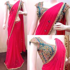Online Ethnic wear shopping for Indian women. Shopping of sarees, salwar suits & Lehengas. Free Delivery in India. Fancy Sarees Party Wear, Chiffon Saree Party Wear, Saree Designs Party Wear, Party Wear Sarees, Party Wear Indian Dresses, Saree Blouse Patterns, Saree Blouse Designs, Kurta Designs, Dress Designs