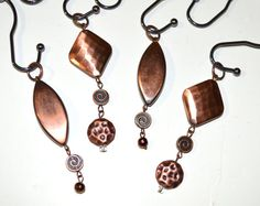 "Copper Shower Curtain Hooks-Double Glide Roller-Diamond,Swirl,Oval,Beaten/Hammered,3"" Dangles-Handcrafted/Handmade,Set of 12,Bath Jewelry"