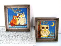 Vintage 1970's Owl Needlepoint Pictures  Owl by ThirstyOwlVintage, $25.50