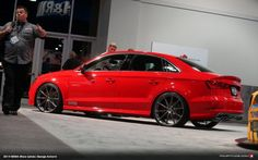 There's no doubt that the is the latest in Audi's long line of super hot cars. Interestingly though, only one Audi (or sedan) made it to SEMA, and this one was displayed proudly at German suspension specialists H&R. Audi A3, Tt Tuning, Audi Sedan, Continental Cars, Bugatti, Red Audi, Carros Audi, A3 8p, Mercedez Benz