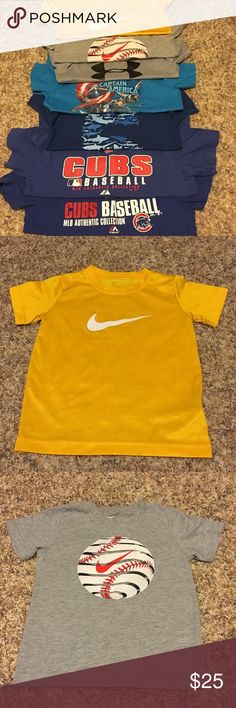 Boys t-shirt bundle Nike/Under Armour/ misc. Boys T-shirt bundle (1) Under Armour size 5 (1) yellow Nike shirt size 6 (1) blue 5 shirt and (1) Captain America shirt size 6 (2) Cubs shirts size 5/6 (1) Nike baseball shirt size 7 Nike Shirts & Tops Tees - Short Sleeve