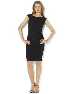 LAUREN RALPH LAUREN Lace Cap Sleeved Dress - BLACK - 14 - Fashion