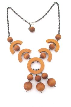 by: aarikka, Finland materials: dyed wood, metal size: central pendant 2 x half circle pieces 1 wearable length adjustable Wooden Jewelry, Vintage Jewelry, Half Circle, Vintage Yellow, Are You Happy, Pendant, Scandinavian, Jewellery, Design