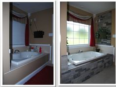 DIY project with air stone and tile updates.  This is actually my bathroom!! So proud of Greg and myself!!