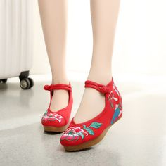 Women Casual Embroidered Flower Chinese Flower Shoes High-heeled Shoes XZ017 #NIBOX #Espadrilles #Casual