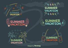 Hand-Drawn Summer Vacations Labels