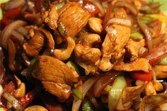 So sieht es aus, das fertige Hähnchen-Gericht mit Paprika, Zwiebel und Porree