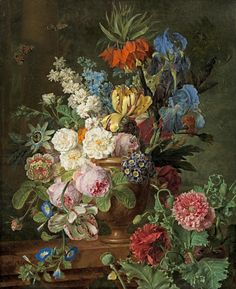 """Flowers in Urn on a Stone Ledge"" 