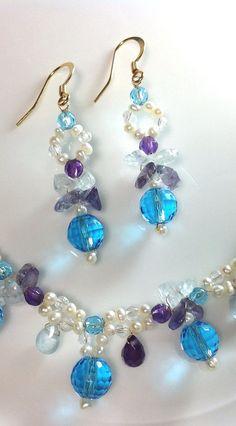 Luxury unique earrings  blue topaz amethyst by AuraVirginiaJewelry, $76.00