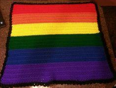 "GAY PRIDE - LGBT -NEW  Rainbow Baby Blanket - Homemade Crocheted (30.5"" x 30.5"")"