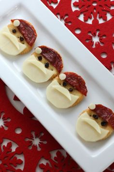 Easy Christmas Holiday Santa Crackers with Cheese and Tomato! | CatchMyParty.com