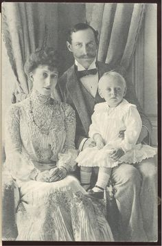 King Haakon & Queen Maud of Norway (nee Princess Maud of Wales) with Olaf Crown Prince of Norway( at that time Prince and Princess Carl of Denmark, their son was christened Alexander)