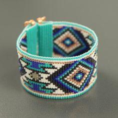 Jemez in Blue Bead Loom Bracelet Bohemian Boho by PuebloAndCo