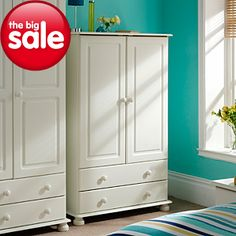 Hampton White 2 Door Wardrobe with 2 Drawers