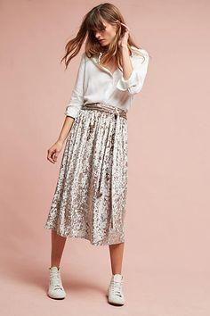 Seen Worn Kept Velvet Tie-Waist Midi Skirt