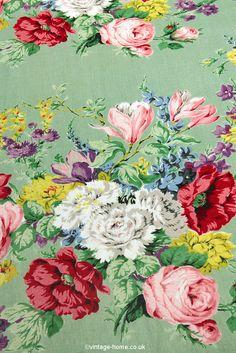 Vintage Home Shop - The Most Beautiful Vintage Floral Sanderson Fabric: www.vintage-home.co.uk