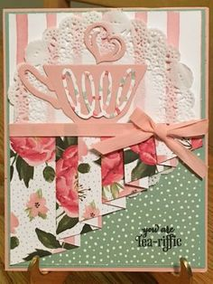 a NiCe CuPPa Stamp set ____For the Drapery Fold, you will use a piece of designer series paper & cut at x 3 Score at 1 2 4 5 Fancy Fold Cards, Folded Cards, 3d Cards, Coffee Cards, Shaped Cards, Stamping Up Cards, Mothers Day Cards, Invitation, Card Tutorials