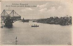 Ostliches Kriegsbild Durch Russen zerstorte brucke in Libau. 1915 postcard.