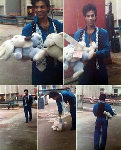 Prince outside Wembley Arena with some plush toys given to him by fans, 1986.
