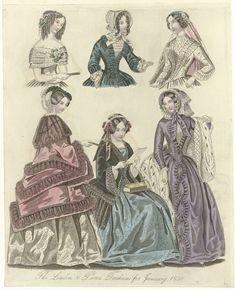 Anonymous | The World of Fashion, january 1850 : The London & Paris..., Anonymous, 1850 | Modes voor januari 1850 uit Londen en Parijs. Onder: twee mantels afgezet met gerimpelde stroken stof. Mantel van hermelijn, gewatteerd(?). Boven: drie vrouwen, ten halven lijve, in een avondjapon, japon met lange mouwen en trouwjapon(?). Accessoires: baret, muts, luifelhoeden, sluier, handschoenen, waaier. Prent uit het modetijdschrift The World of Fashion (1824-1891).