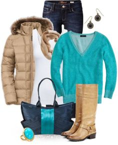 ~ Awesome for Mammoth ~ Teal, Tan & Navy Winter Outfit <3