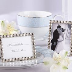 Silver Beads Mini Photo Frame by Beau-coup - @Rochelle Marx table number frames