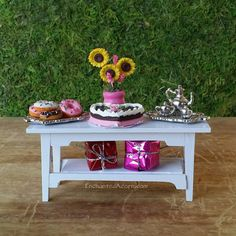 Miniature Table with Sweets - Fairy Garden Furniture, Miniature Garden Table, Valentine's Day mini, Sweetheart's, Pink Furniture