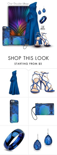 """One-Shoulder Dress Midnight Blue"" by kashmier ❤ liked on Polyvore featuring Becca Stadtlander, ML Monique Lhuillier, Schutz, Ippolita, dress, polyvorecontest, iphone6 and leatherwooddesign"
