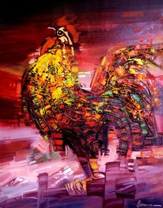 """""""Rooster"""" in the paintings of the artist Sergei Hahonina oil on canvas. Chicken Bird, Rooster Painting, Oil On Canvas, Paintings, The Originals, Artist, Prints, Paint, Painting Art"""