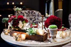Cigar Box and succulent centerpieces | Southern California Winery Wedding with Succulent Theme