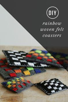 Kid Craft! DIY Rainbow Woven Felt Coasters | HelloNatural.co