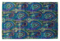 wish I could pull this off.  One Kings Lane - Exotic Brights - 9'x9' Hand-Knotted Paisley Rug, Indigo