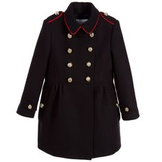 Burberry Girls Navy Blue Wool Military Coat  at Childrensalon.com
