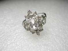 Vintage Silvertone Tired Clear Rhinestone Cocktail Ring, size 7. #unbranded #Cocktail