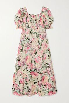 White De Christin shirred floral-print linen midi dress | Faithfull The Brand | NET-A-PORTER