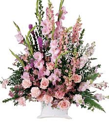 A beautiful sympathy arrangement featuring flowers in many shades of pink. The handled basket holds pink gladiolus, pink roses, pink snapdragons, pink carnations and more. Appropriate to send to a home or to a funeral.