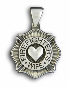 Firefighter Christmas Gifts for Women - Firefighter Jewelry: Firefighter's Wife Sterling Silver Pendant