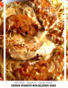 Seasoned chicken pan-fried in butter with a super easy cream sauce served over pasta. Seasoned chicken pan-fried until golden in butter finished with an easy creamy pan sauce served over pasta. Huhn Spaghetti, Chicken Spaghetti, Chicken Pasta, Spaghetti Squash, Butter Chicken, Turkey Recipes, Chicken Recipes, Chicken Tenderloin Recipes, Recipes With Chicken Breast Tenderloins
