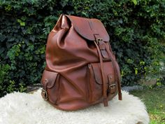 Hand Made Leather Laptop Backpack / Handmade Leather Backpack / Brown Leather Travel BackPack #handmade #transylvanianmonk